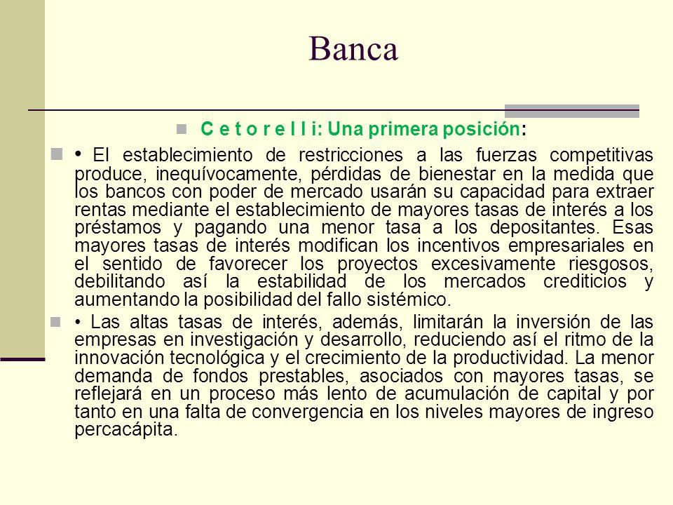 Banca C e t o r e l l i: Una primera posición: El establecimiento de restricciones a las fuerzas competitivas produce, inequívocamente, pérdidas de bi