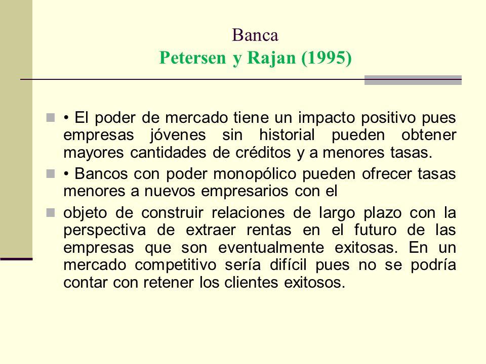 Banca Petersen y Rajan (1995) El poder de mercado tiene un impacto positivo pues empresas jóvenes sin historial pueden obtener mayores cantidades de c