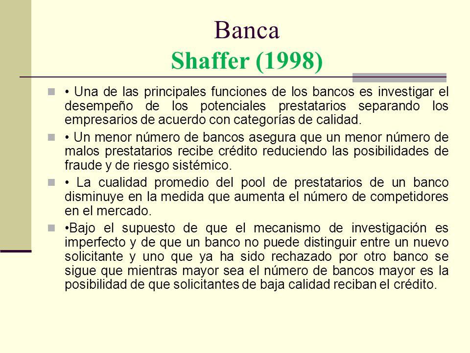Banca Shaffer (1998) Una de las principales funciones de los bancos es investigar el desempeño de los potenciales prestatarios separando los empresari