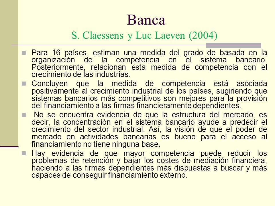 Banca S. Claessens y Luc Laeven (2004) Para 16 países, estiman una medida del grado de basada en la organización de la competencia en el sistema banca