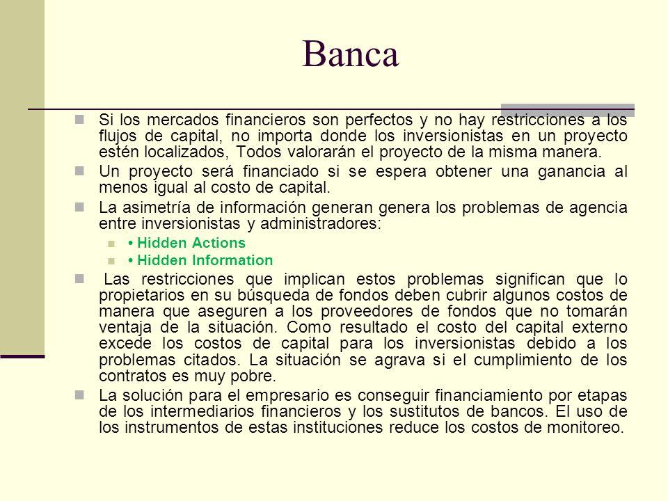 Banca Shaffer (1998) Una de las principales funciones de los bancos es investigar el desempeño de los potenciales prestatarios separando los empresarios de acuerdo con categorías de calidad.