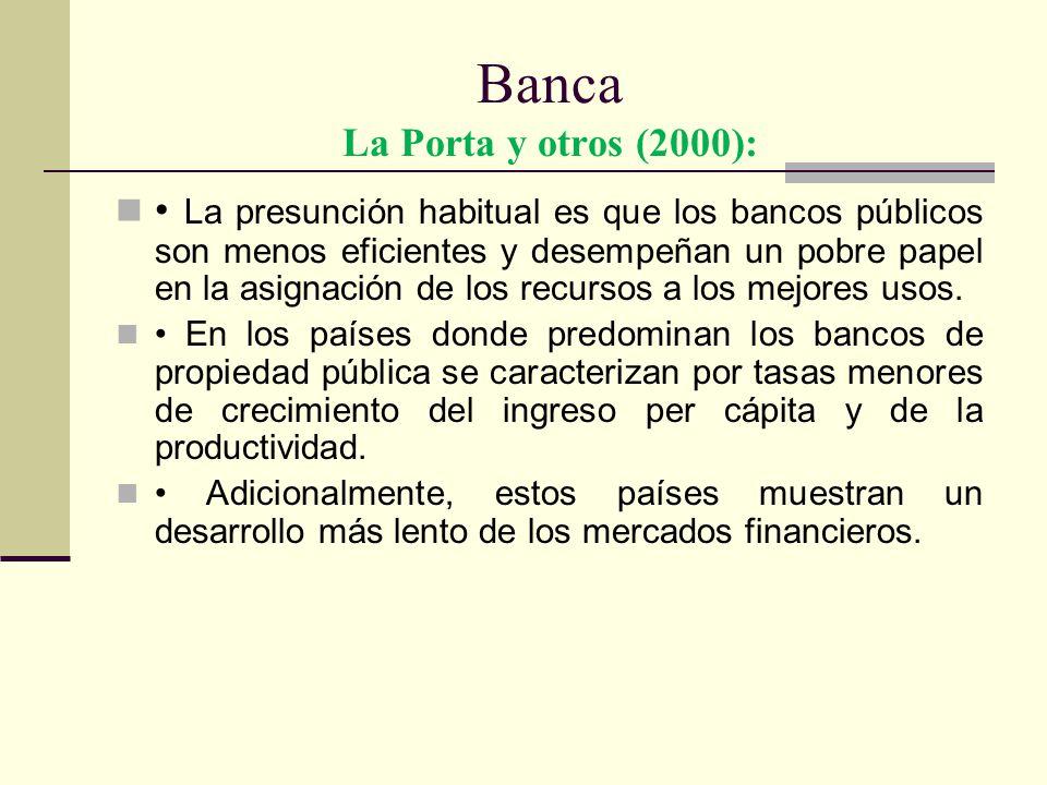 Banca La Porta y otros (2000): La presunción habitual es que los bancos públicos son menos eficientes y desempeñan un pobre papel en la asignación de