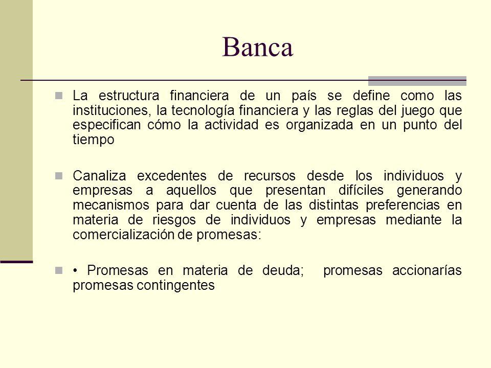 Banca Merton (1995) argumenta que el sistema financiero nos provee de: Un sistema de pagos; Un mecanismo para reunir fondos; Una forma de transferir recursos en el tiempo y espacio; Una forma de administrar incertidumbre y controlar el riesgo, Información de precios que permite a la economía implementar una asignación de recursos descentralizada y; Una manera para tratar con la información asimétrica