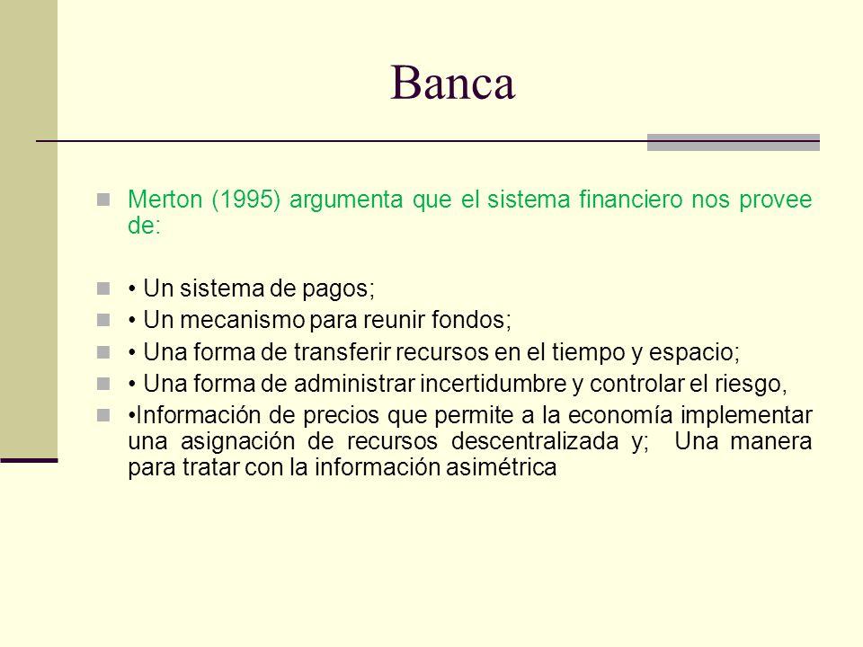 Banca Merton (1995) argumenta que el sistema financiero nos provee de: Un sistema de pagos; Un mecanismo para reunir fondos; Una forma de transferir r
