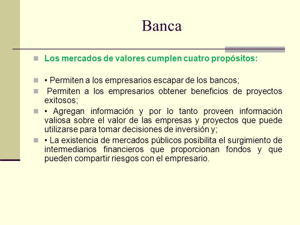 Banca Los mercados de valores cumplen cuatro propósitos: Permiten a los empresarios escapar de los bancos; Permiten a los empresarios obtener benefici