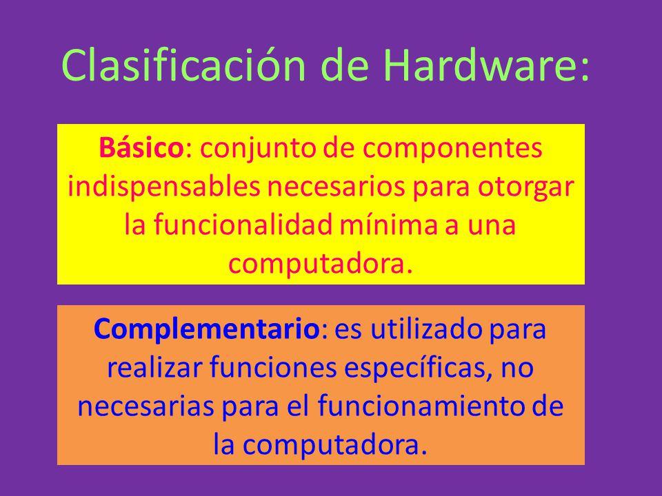 Básico: conjunto de componentes indispensables necesarios para otorgar la funcionalidad mínima a una computadora. Complementario: es utilizado para re