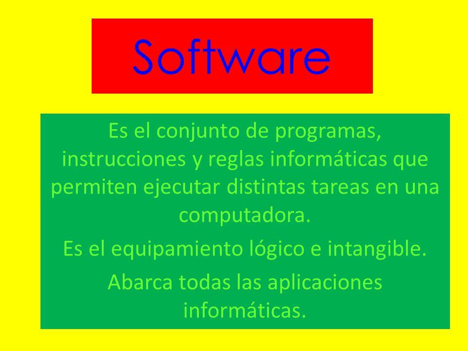 Software Es el conjunto de programas, instrucciones y reglas informáticas que permiten ejecutar distintas tareas en una computadora. Es el equipamient