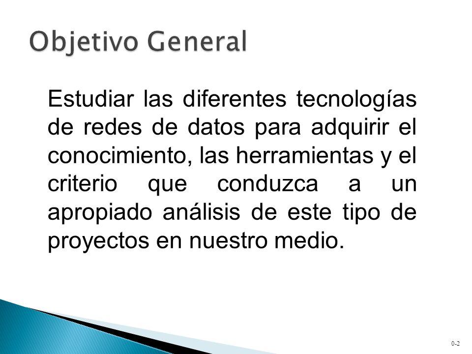 0-2 Estudiar las diferentes tecnologías de redes de datos para adquirir el conocimiento, las herramientas y el criterio que conduzca a un apropiado análisis de este tipo de proyectos en nuestro medio.