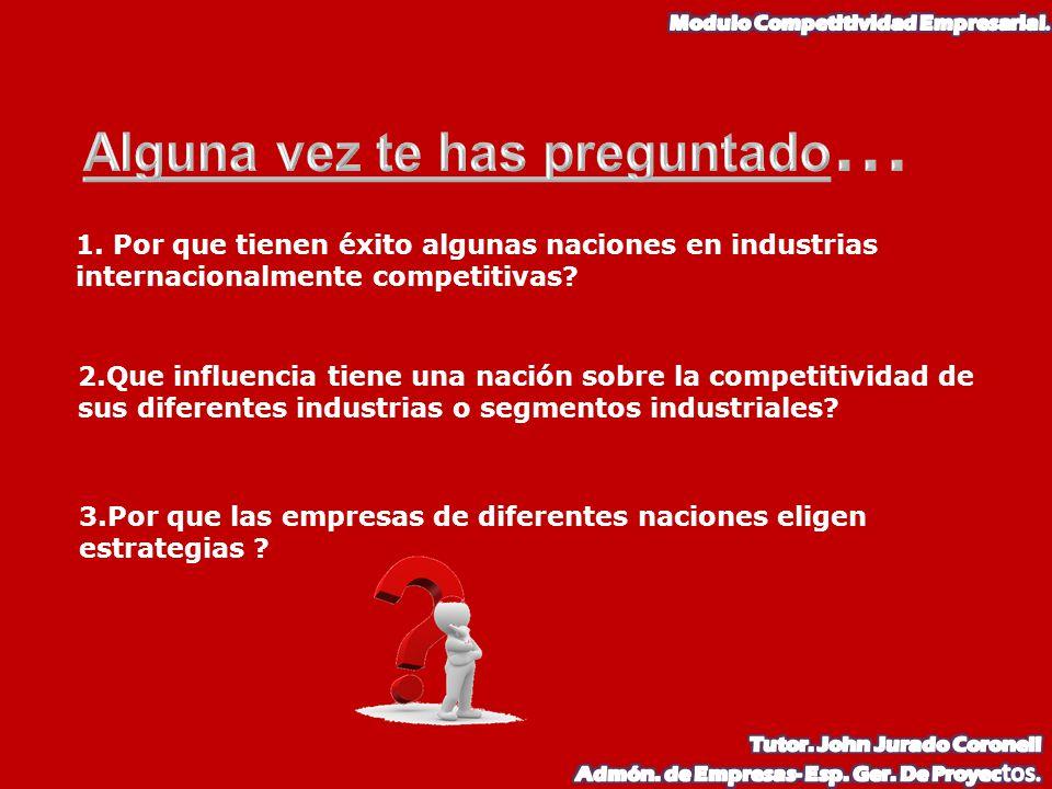 1. Por que tienen éxito algunas naciones en industrias internacionalmente competitivas? 2.Que influencia tiene una nación sobre la competitividad de s