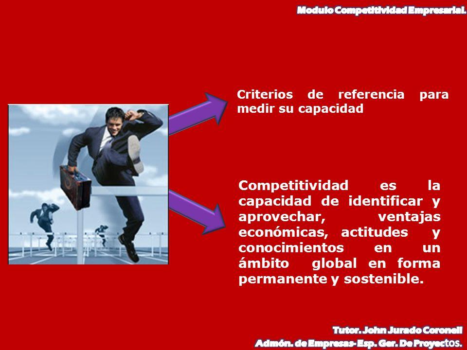 Competitividad es la capacidad de identificar y aprovechar, ventajas económicas, actitudes y conocimientos en un ámbito global en forma permanente y s