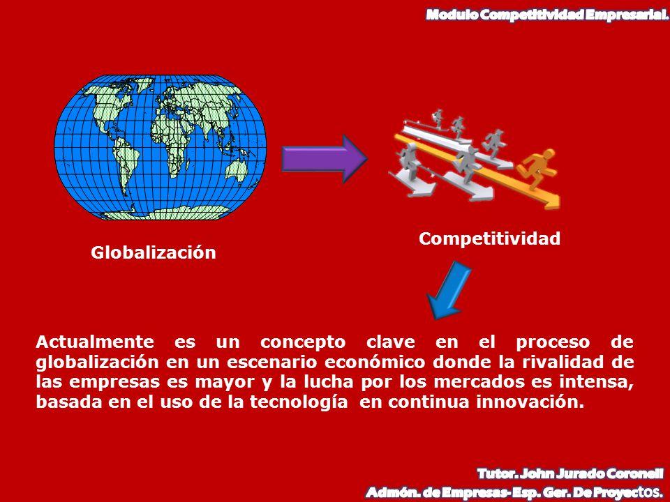 Globalización Competitividad Actualmente es un concepto clave en el proceso de globalización en un escenario económico donde la rivalidad de las empre