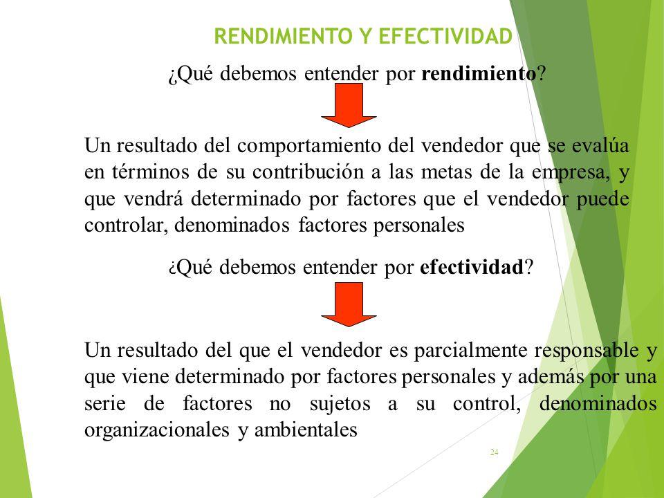 RENDIMIENTO Y EFECTIVIDAD 24 ¿Qué debemos entender por rendimiento? Un resultado del comportamiento del vendedor que se evalúa en términos de su contr