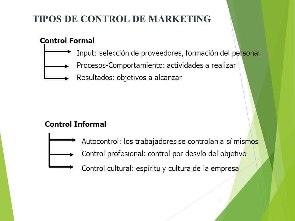 4 Control Formal Input: selección de proveedores, formación del personal Procesos-Comportamiento: actividades a realizar Resultados: objetivos a alcan