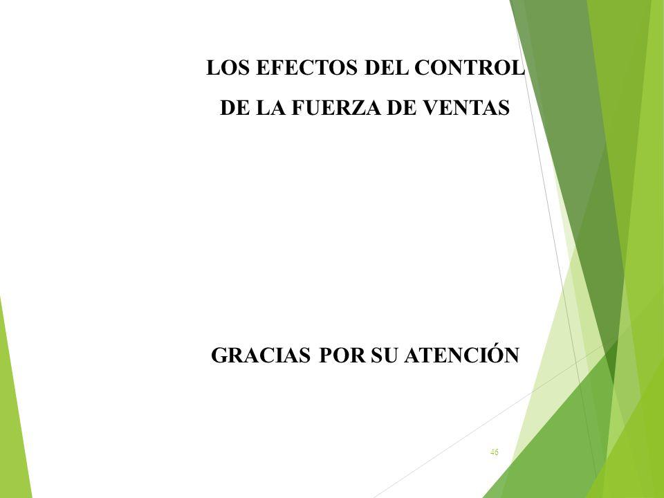 46 LOS EFECTOS DEL CONTROL DE LA FUERZA DE VENTAS GRACIAS POR SU ATENCIÓN