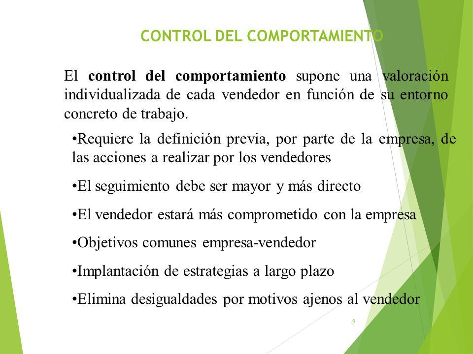 CONTROL DEL COMPORTAMIENTO 9 El control del comportamiento supone una valoración individualizada de cada vendedor en función de su entorno concreto de