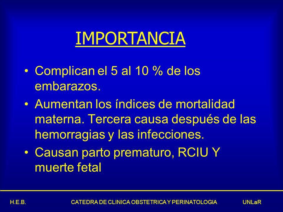 H.E.B.CATEDRA DE CLINICA OBSTETRICA Y PERINATOLOGIA UNLaR Complican el 5 al 10 % de los embarazos.