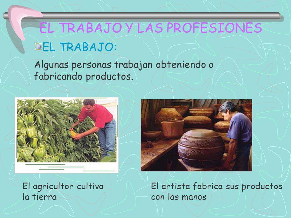 EL TRABAJO Y LAS PROFESIONES EL TRABAJO: Algunas personas trabajan obteniendo o fabricando productos. El agricultor cultiva la tierra El artista fabri