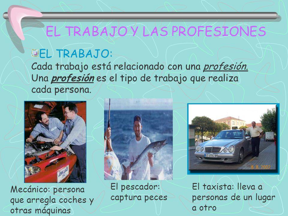 EL TRABAJO Y LAS PROFESIONES EL TRABAJO: Cada trabajo está relacionado con una profesión. Una profesión es el tipo de trabajo que realiza cada persona