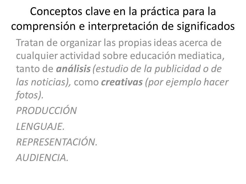 Conceptos clave en la práctica para la comprensión e interpretación de significados Tratan de organizar las propias ideas acerca de cualquier activida