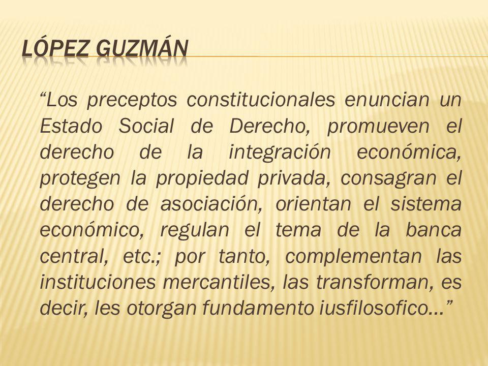 Los preceptos constitucionales enuncian un Estado Social de Derecho, promueven el derecho de la integración económica, protegen la propiedad privada,