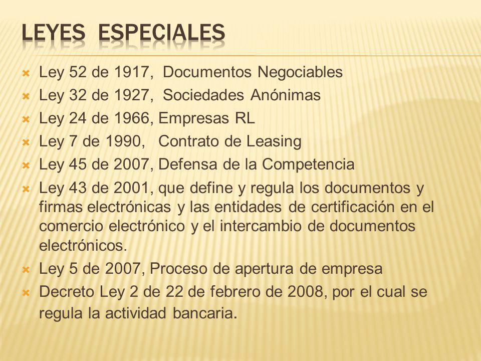 Ley 52 de 1917, Documentos Negociables Ley 32 de 1927, Sociedades Anónimas Ley 24 de 1966, Empresas RL Ley 7 de 1990, Contrato de Leasing Ley 45 de 20