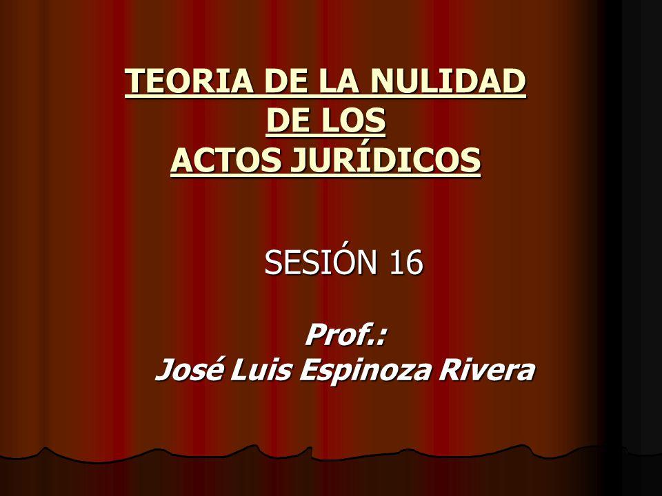 TEORIA DE LA NULIDAD DE LOS ACTOS JURÍDICOS SESIÓN 16 Prof.: José Luis Espinoza Rivera