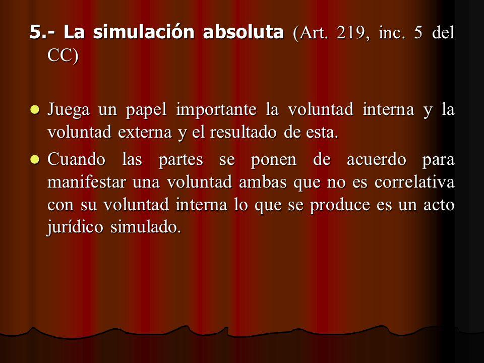 5.- La simulación absoluta (Art. 219, inc. 5 del CC) Juega un papel importante la voluntad interna y la voluntad externa y el resultado de esta. Juega