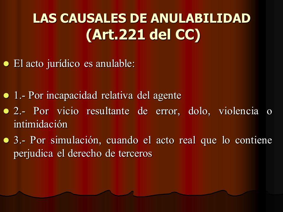 LAS CAUSALES DE ANULABILIDAD (Art.221 del CC) El acto jurídico es anulable: El acto jurídico es anulable: 1.- Por incapacidad relativa del agente 1.-