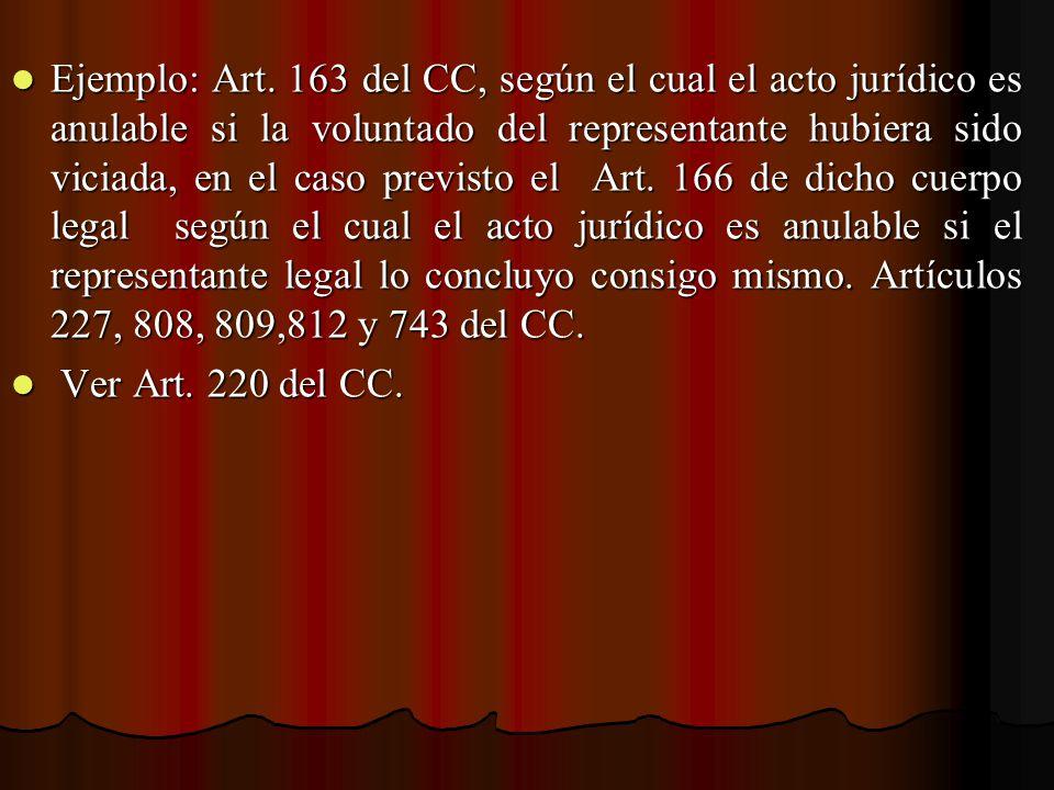 Ejemplo: Art. 163 del CC, según el cual el acto jurídico es anulable si la voluntado del representante hubiera sido viciada, en el caso previsto el Ar