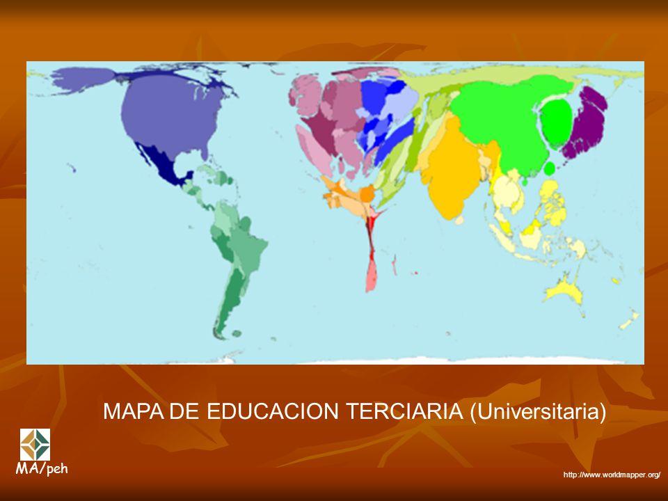 MAPA DE EDUCACION TERCIARIA (Universitaria) http://www.worldmapper.org/ MA/ peh