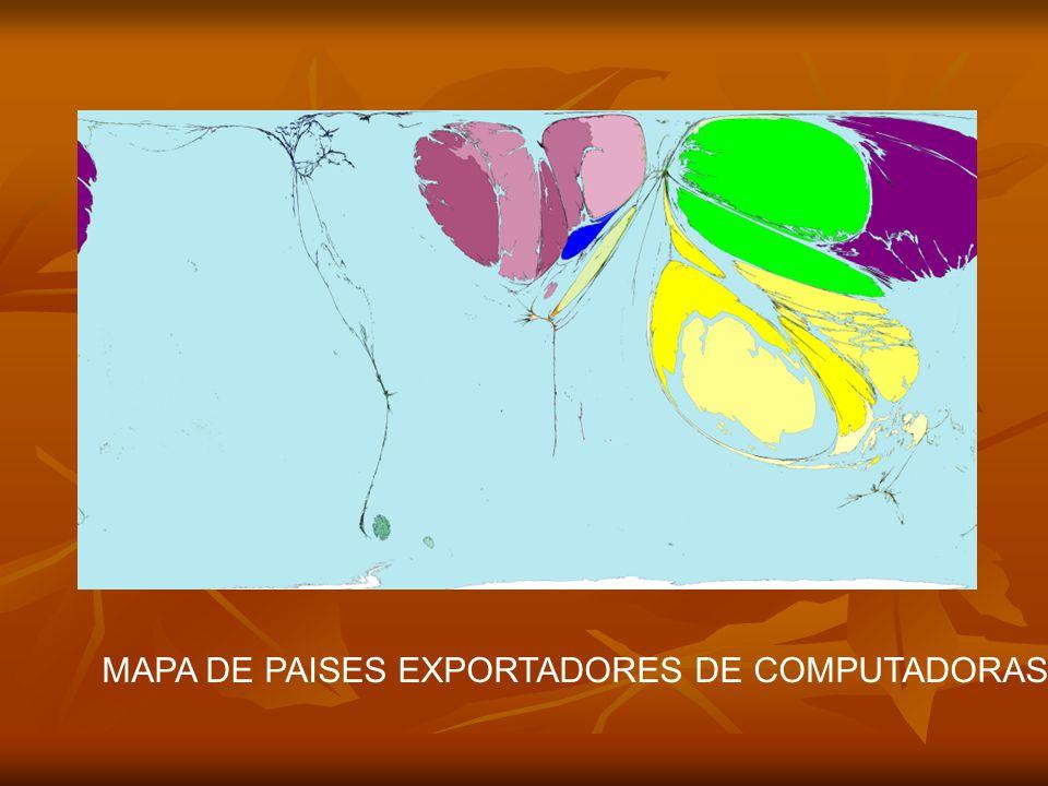 MAPA DE PAISES EXPORTADORES DE COMPUTADORAS