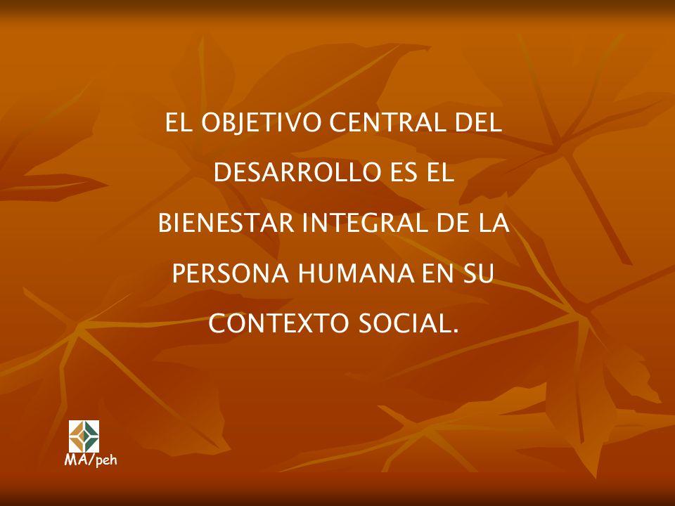 EL OBJETIVO CENTRAL DEL DESARROLLO ES EL BIENESTAR INTEGRAL DE LA PERSONA HUMANA EN SU CONTEXTO SOCIAL. MA/ peh