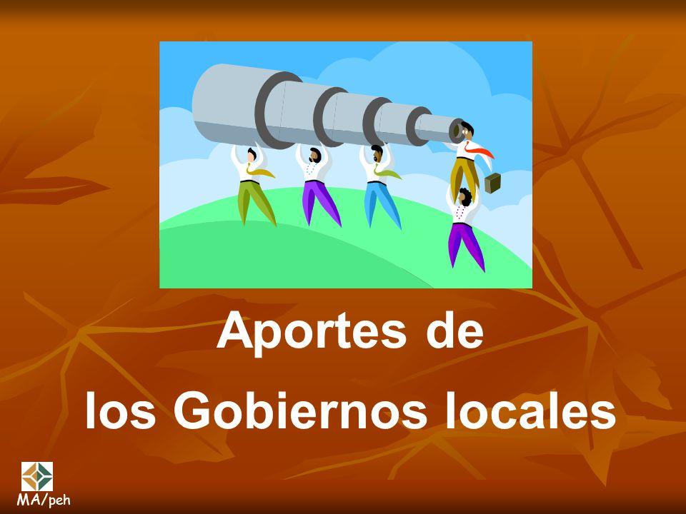 Aportes de los Gobiernos locales MA/ peh