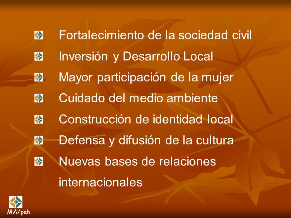 Fortalecimiento de la sociedad civil Inversión y Desarrollo Local Mayor participación de la mujer Cuidado del medio ambiente Construcción de identidad