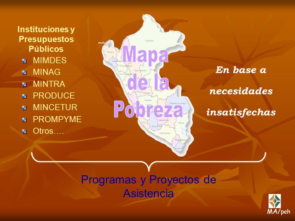 MIMDES MINAG MINTRA PRODUCE MINCETUR PROMPYME Otros…. Programas y Proyectos de Asistencia Instituciones y Presupuestos Públicos En base a necesidades
