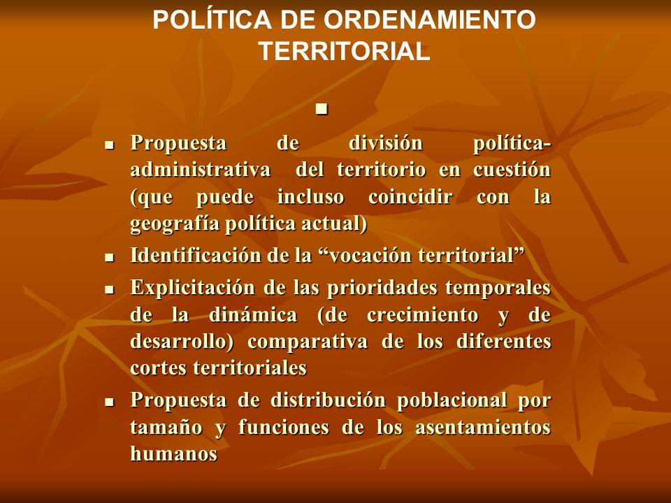 Propuesta de división política- administrativa del territorio en cuestión (que puede incluso coincidir con la geografía política actual) Propuesta de