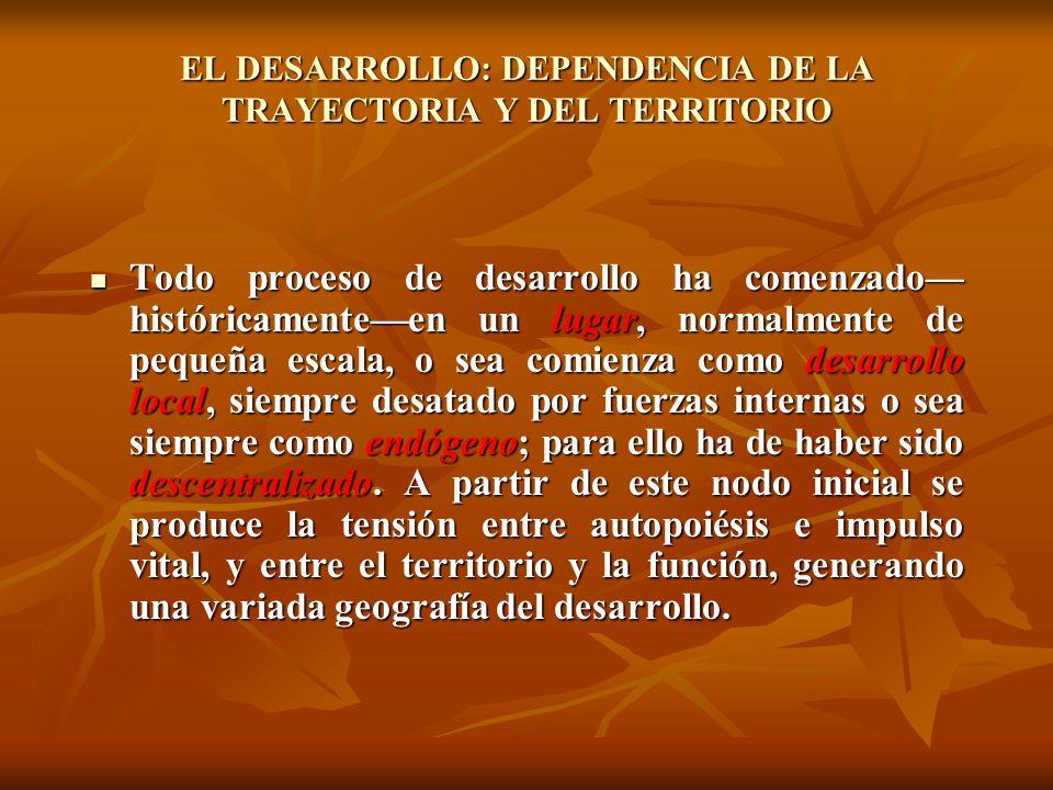 EL DESARROLLO: DEPENDENCIA DE LA TRAYECTORIA Y DEL TERRITORIO Todo proceso de desarrollo ha comenzado históricamenteen un lugar, normalmente de pequeñ