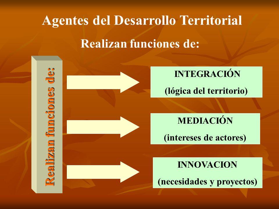 Realizan funciones de: INTEGRACIÓN (lógica del territorio) MEDIACIÓN (intereses de actores) INNOVACION (necesidades y proyectos) Realizan funciones de