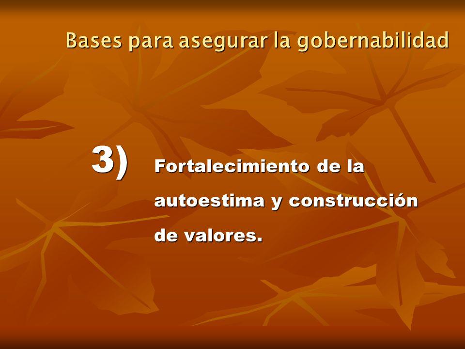 3) Fortalecimiento de la autoestima y construcción de valores. Bases para asegurar la gobernabilidad