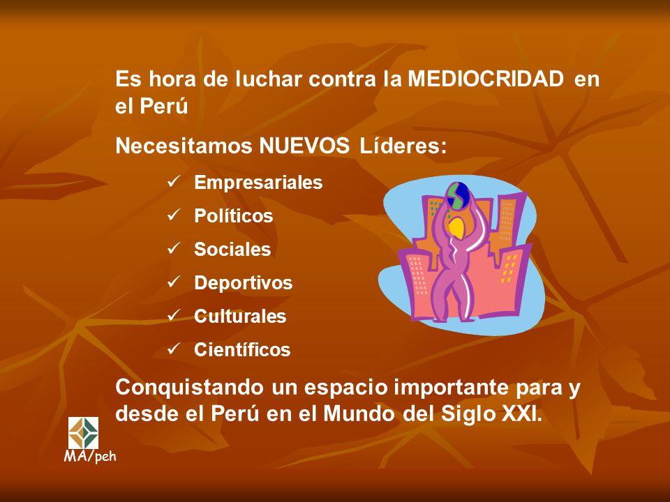Es hora de luchar contra la MEDIOCRIDAD en el Perú Necesitamos NUEVOS Líderes: Conquistando un espacio importante para y desde el Perú en el Mundo del