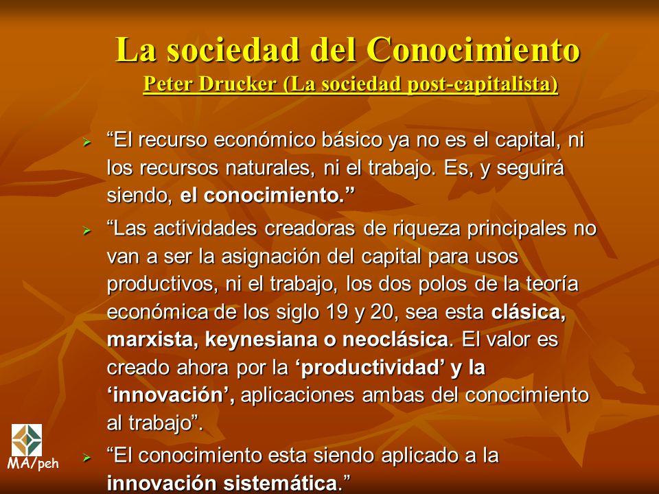 La sociedad del Conocimiento Peter Drucker (La sociedad post-capitalista) El recurso económico básico ya no es el capital, ni los recursos naturales,
