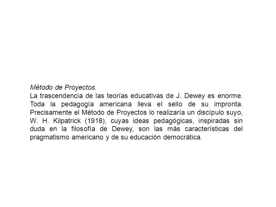 Método de Proyectos. La trascendencia de las teorías educativas de J. Dewey es enorme. Toda la pedagogía americana lleva el sello de su impronta. Prec
