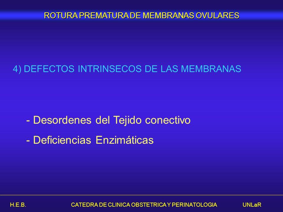 H.E.B. CATEDRA DE CLINICA OBSTETRICA Y PERINATOLOGIA UNLaR ROTURA PREMATURA DE MEMBRANAS OVULARES 4) DEFECTOS INTRINSECOS DE LAS MEMBRANAS - Desordene