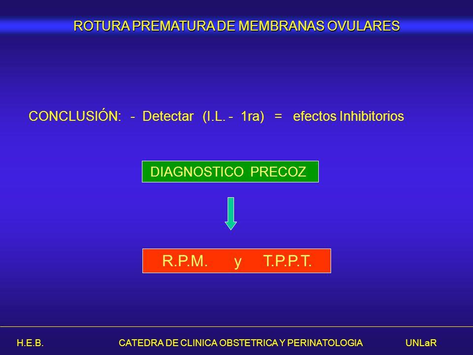 H.E.B. CATEDRA DE CLINICA OBSTETRICA Y PERINATOLOGIA UNLaR CONCLUSIÓN: - Detectar (I.L. - 1ra) = efectos Inhibitorios DIAGNOSTICO PRECOZ R.P.M. y T.P.