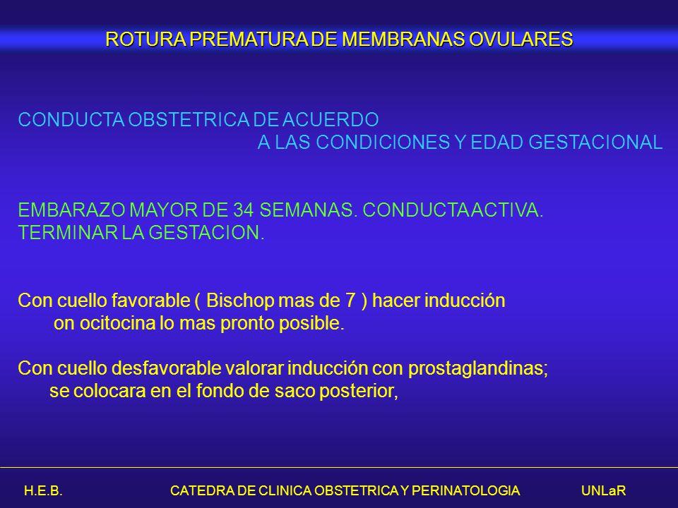 H.E.B. CATEDRA DE CLINICA OBSTETRICA Y PERINATOLOGIA UNLaR ROTURA PREMATURA DE MEMBRANAS OVULARES CONDUCTA OBSTETRICA DE ACUERDO A LAS CONDICIONES Y E