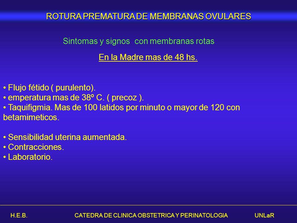 H.E.B. CATEDRA DE CLINICA OBSTETRICA Y PERINATOLOGIA UNLaR ROTURA PREMATURA DE MEMBRANAS OVULARES Sintomas y signos con membranas rotas En la Madre ma