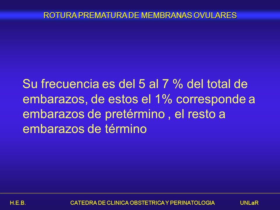 H.E.B. CATEDRA DE CLINICA OBSTETRICA Y PERINATOLOGIA UNLaR Su frecuencia es del 5 al 7 % del total de embarazos, de estos el 1% corresponde a embarazo