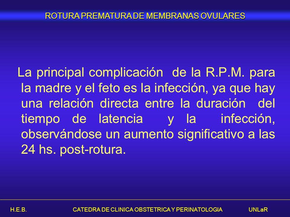 H.E.B. CATEDRA DE CLINICA OBSTETRICA Y PERINATOLOGIA UNLaR La principal complicación de la R.P.M. para la madre y el feto es la infección, ya que hay
