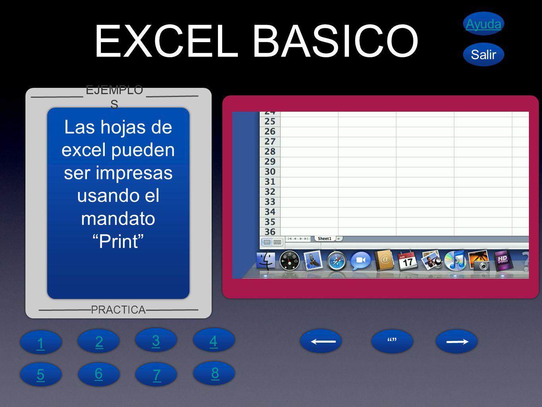 EXCEL BASICO EJEMPLO S PRACTICA Ayuda Salir Las hojas de excel pueden ser impresas usando el mandatoPrint 1 4 6 5 7 8 2 3