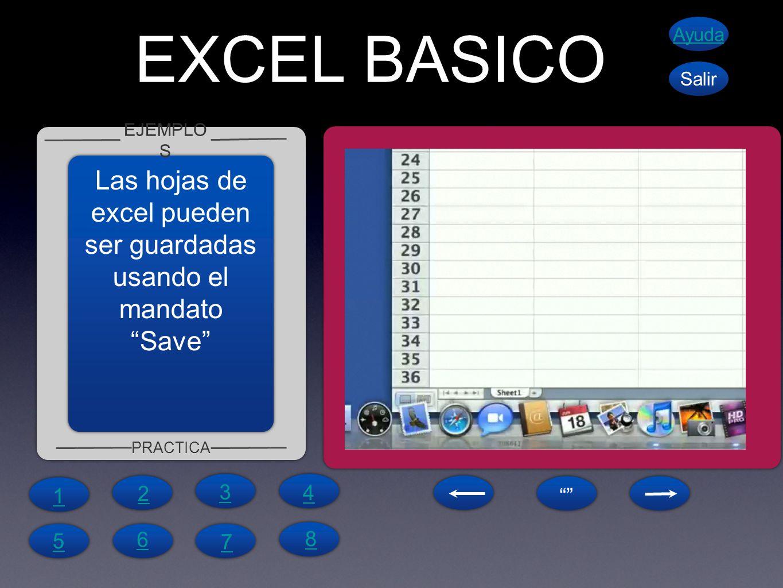 EXCEL BASICO EJEMPLO S PRACTICA Ayuda Salir Las hojas de excel pueden ser guardadas usando el mandatoSave 1 4 6 5 7 8 2 3